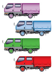 Illustration of four color mini-trucks