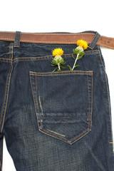 紅花とジーンズ縦