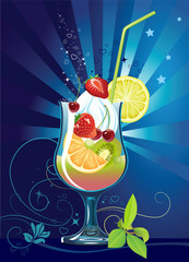 Cocktail with fruits
