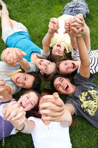 Leinwanddruck Bild Jugendliche Team