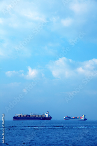 an image of several big ships on the sea