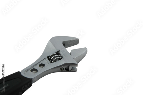 Industrial tool. Adjustable wrench open.