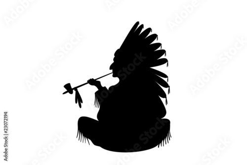 indian chief sitting and smoking Illustration on a white