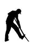 black silhouette gardener or farmer digging with shovel