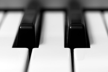 Close-up of black and white keys on a piano keyboard