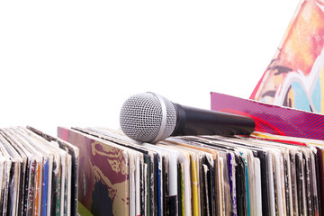 Microphone on stack of records