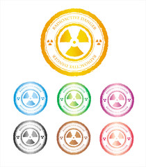 Samples of the colour seals of radioactive danger