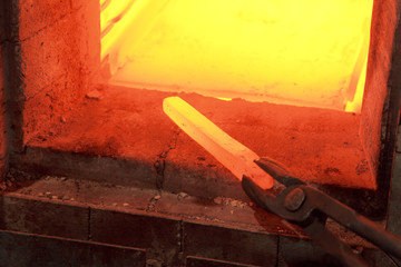 Metallurgy, iron lingot on 1000 C temperature in furnace