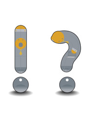 cartoon exclamation mark and the question mark as humans