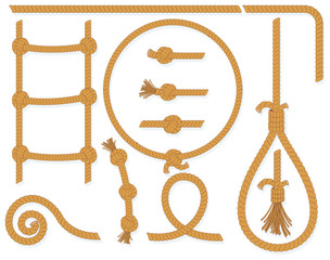 Twisted rope collection- isolated  design elements