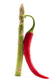 red hot chilli and asparagus spear free standing poster