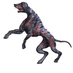 creepy alien dog out of hell. 3D rendering with clipping path an