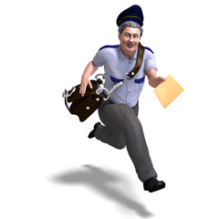 very sweet postman running to you. 3D rendering with clipping pa