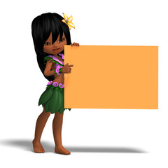 very cute hawaiin cartoon girl invites you. 3D rendering with cl