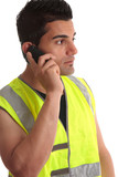 Tradesman on phone looking sideways poster