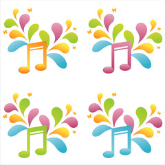 set of 4 colorful musical notes