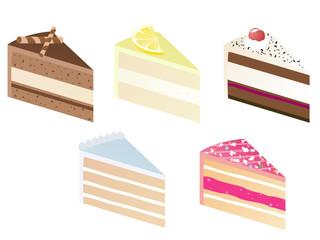 Fünf Kuchenstücke