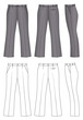 Outline black-white pants vector illustration isolated on white