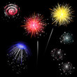colorful fireworks - set