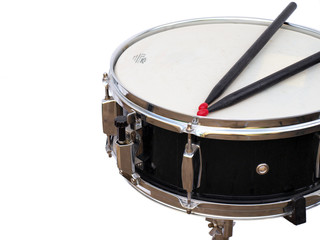 SIngle snare drum in a white room
