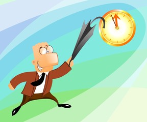 businessman jumping with an umbrella at the clock
