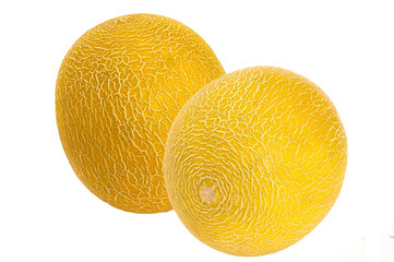 Two sweet melons, isolated on the white