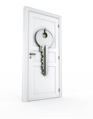 Door with giant key
