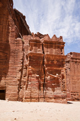 Nabatean tombs in the Siq. Petra. Jordan.