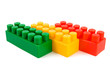 Stack of colourful building blocks isolated