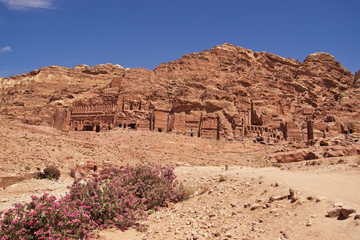 Wide view of large cliff side tombs