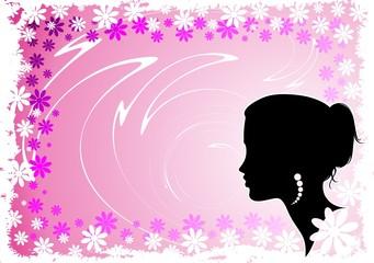 Ragazza Su Sfondo di Fiori-Girl and Flowers Background-Vector