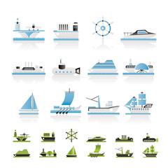 different types of boat and ship icons - Vector icon set