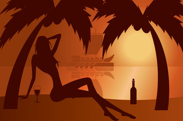 beautiful woman silhouette on a beach