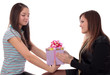 girl gives to  woman a gift, isolated.