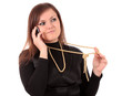 woman speaks by phone, isolated.