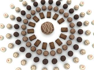 Cerchio di cioccolattini vista dall'alto
