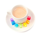 Multicolored slabs of shugar and cup of coffee poster
