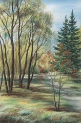 The Siberian landscape, pastel