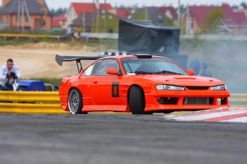 Red car drifting