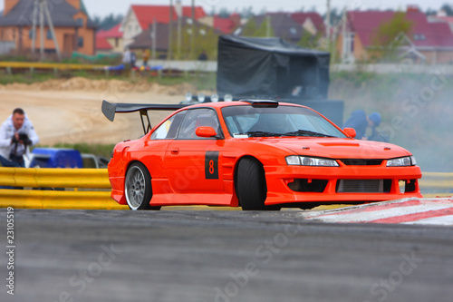 Foto op Canvas Snelle auto s Red car drifting