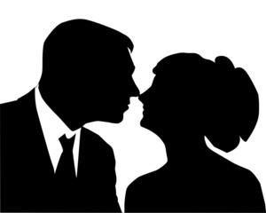 White silhouette of a loving couple