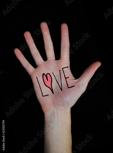 Love written on Hand