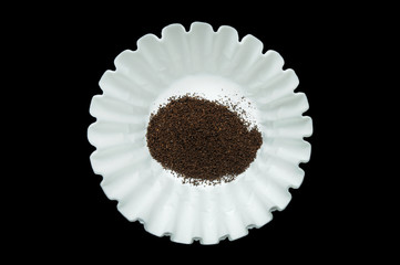 Coffee inside of Paper Coffee Filter