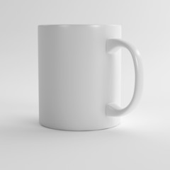 white clean ceramic mug on a light background