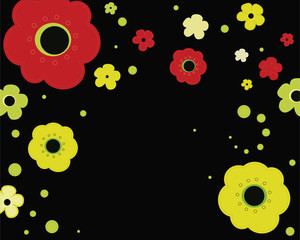 Retro colorful background with abstract flowers.