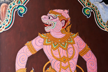 Ramayana painting in temple of emerald buddha