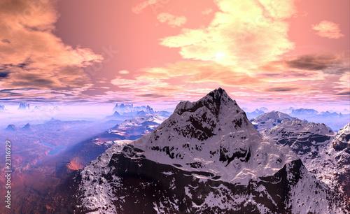 Fototapeten,landschaft,schnee,alphütte,bergspitzen spiegeln sich im fluss
