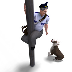 the postman seeks shelter fromt the dog. 3D rendering with clipp