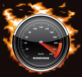 Speedometer involved in flames poster