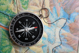compass on geography map poster